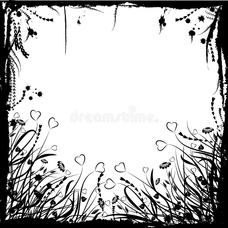 Marco floral del grunge de la tarjeta del día de San Valentín, vector ilustración del vector