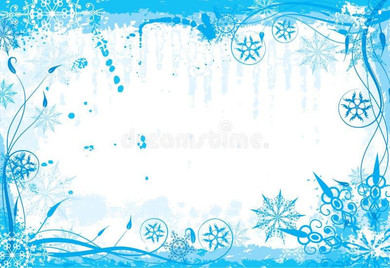 Marco floral del grunge del invierno stock de ilustración