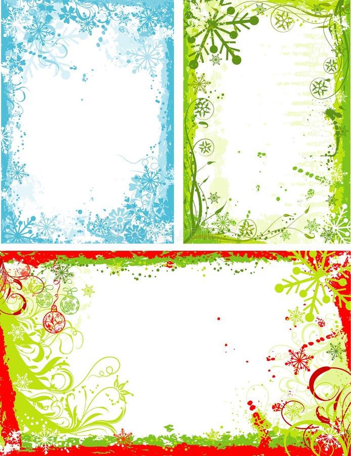 Marco floral del grunge del invierno, vector stock de ilustración