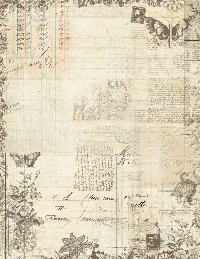Marco floral del libro de recuerdos de la vendimia botánica stock de ilustración