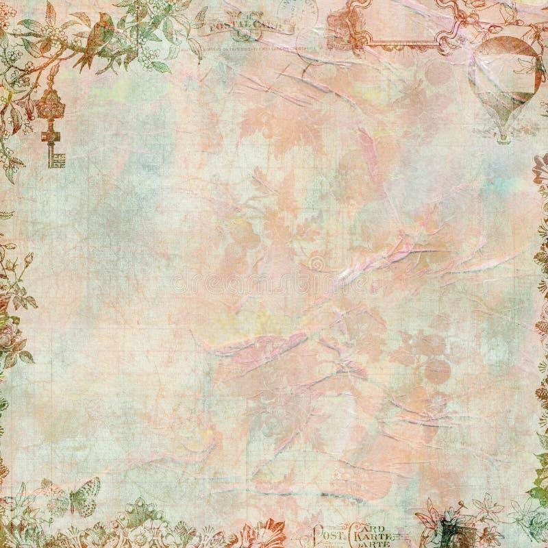Marco floral del libro de recuerdos de la vendimia sucia en colores pastel foto de archivo