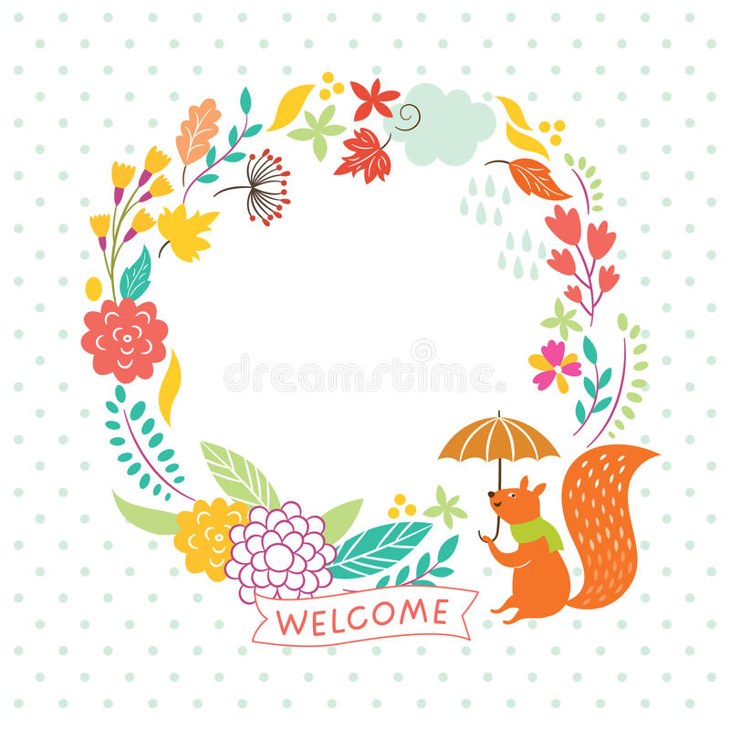 Marco floral del otoño stock de ilustración