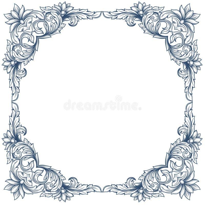 Marco floral del victorian del vintage stock de ilustración