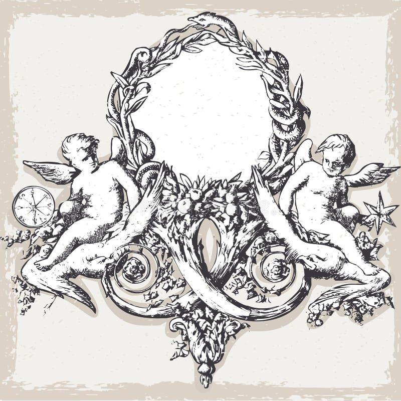 Marco floral del vintage con ángeles stock de ilustración