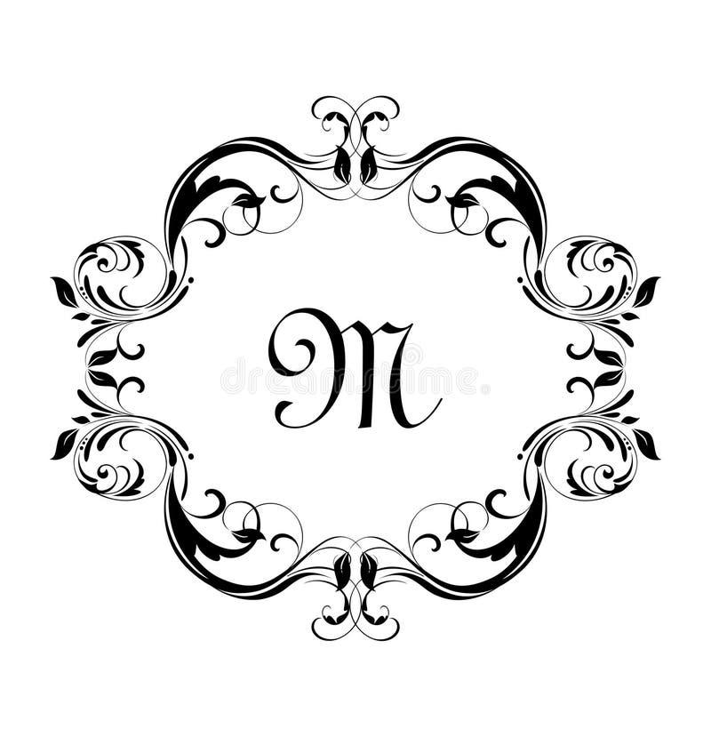 Marco floral del vintage para el diseño heráldico, etiqueta, boutique, invitación de la boda, monograma, ceremonia libre illustration
