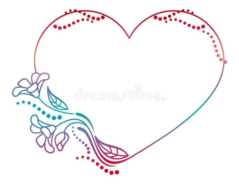 Marco floral en forma de corazón hermoso con el terraplén de la pendiente stock de ilustración