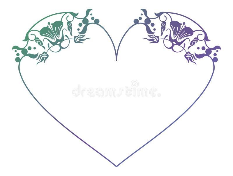 Marco floral en forma de corazón hermoso con el terraplén de la pendiente libre illustration