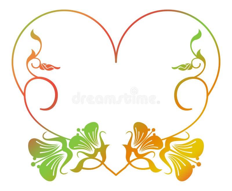 Marco floral en forma de corazón hermoso con el terraplén de la pendiente ilustración del vector
