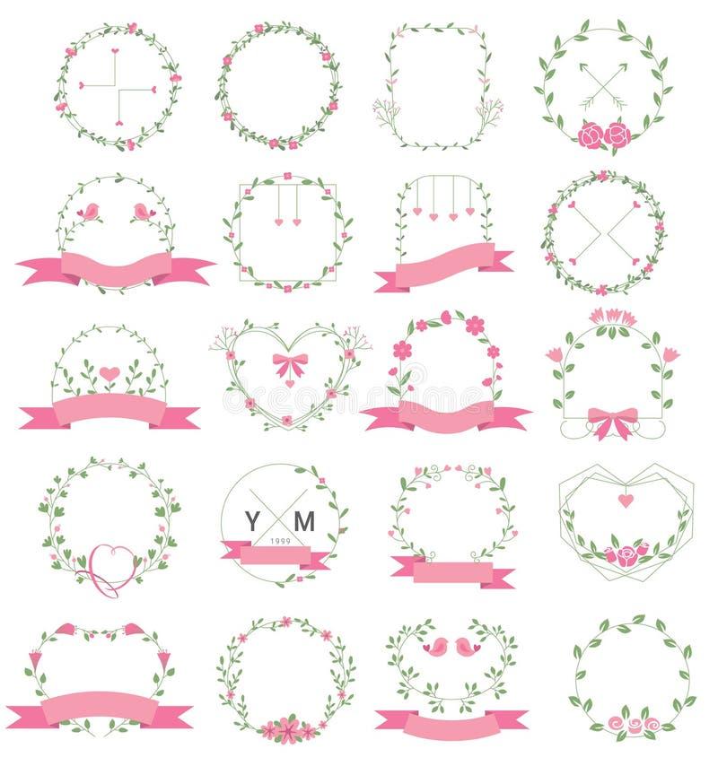 Marco floral fijado para la boda, florister?a, para imprimir, tarjeta, bandera, producto Vector ilustración del vector