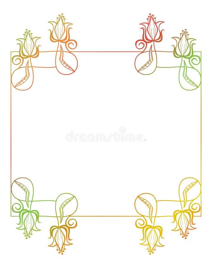 Marco floral hermoso con el terraplén de la pendiente stock de ilustración