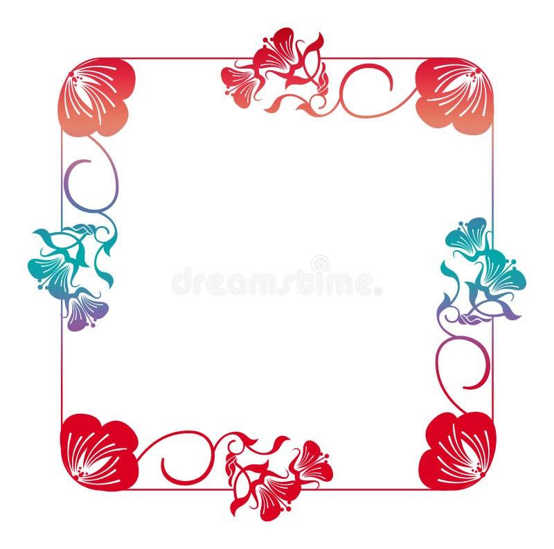 Marco floral hermoso con el terraplén de la pendiente ilustración del vector