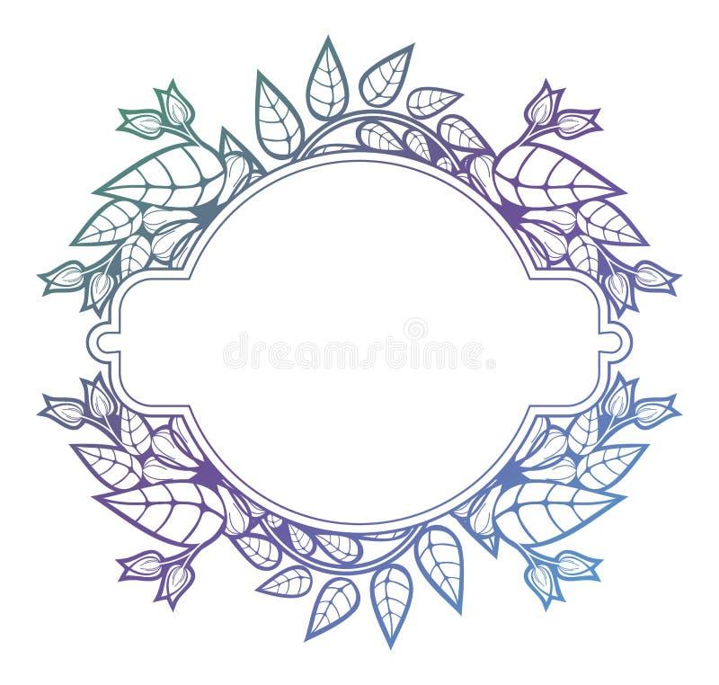 Marco floral hermoso con el terraplén de la pendiente Fram de la silueta del color libre illustration