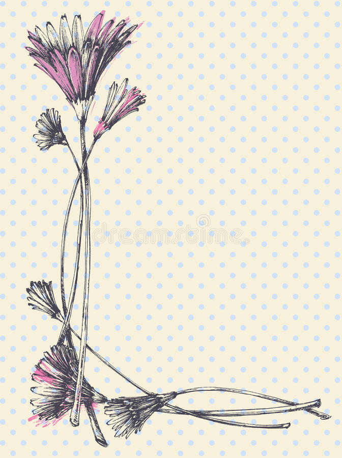 Marco floral lindo dibujado mano libre illustration