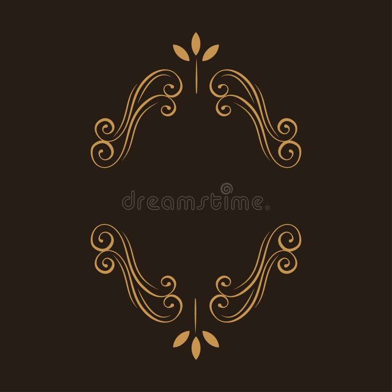 Marco floral ornamental Decoración de la página Remolinos, elemento del diseño de la voluta del flourish Invitación de la boda, t ilustración del vector
