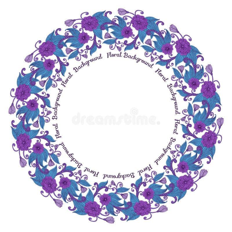 Marco floral redondo ilustración del vector