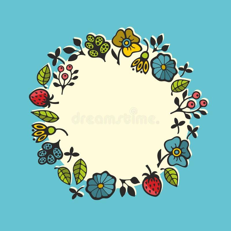 Marco floral redondo con las hojas y las plantas exhaustas de la mano libre illustration