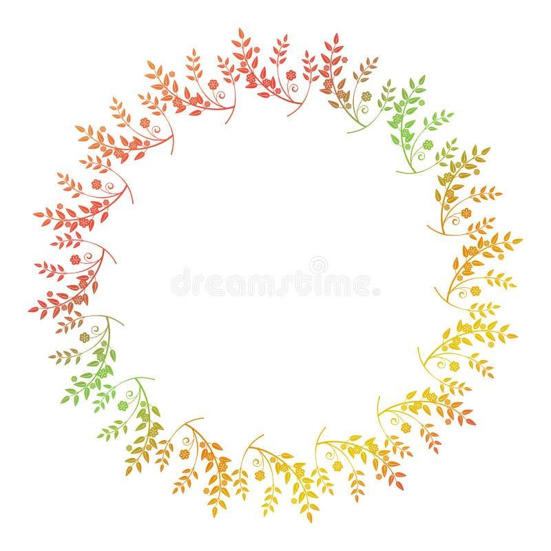 Marco floral redondo hermoso con el terraplén de la pendiente ilustración del vector