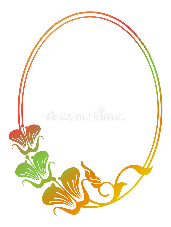 Marco floral redondo hermoso con el terraplén de la pendiente stock de ilustración