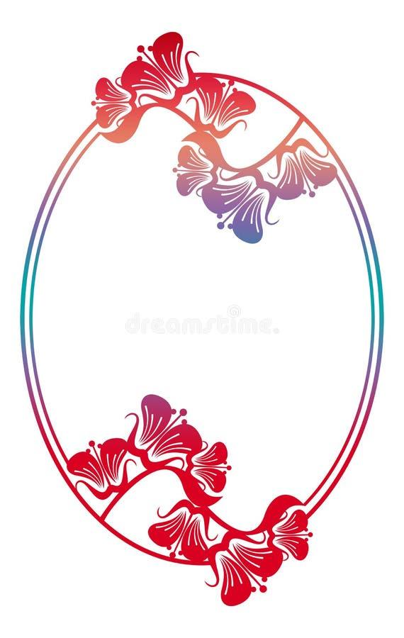 Marco floral redondo hermoso con el terraplén de la pendiente libre illustration