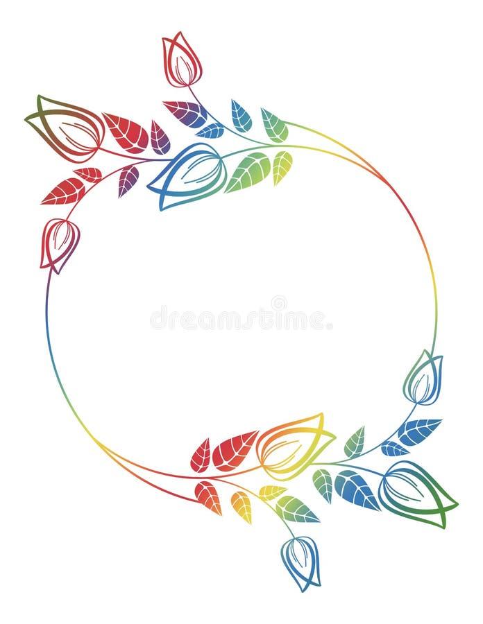 Marco floral redondo hermoso con el terraplén de la pendiente Clip art de la trama ilustración del vector