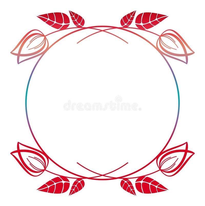 Marco floral redondo hermoso con el terraplén de la pendiente Clip art de la trama stock de ilustración