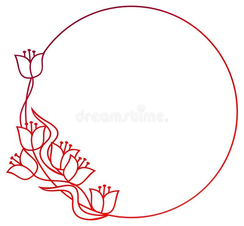 Marco floral redondo hermoso con el terraplén de la pendiente Clip art de la trama libre illustration