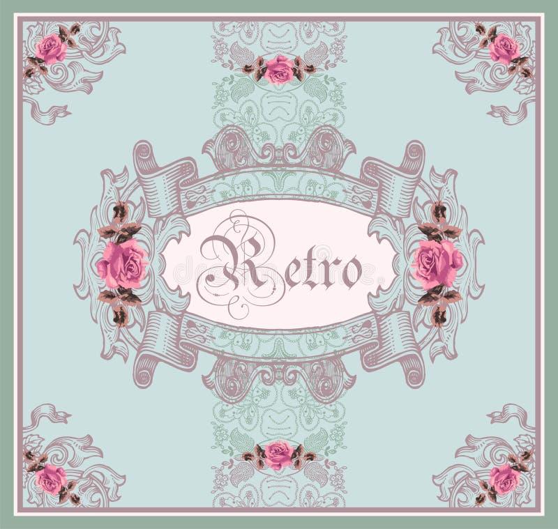 Marco floral retro ornamental (rosas). ilustración del vector
