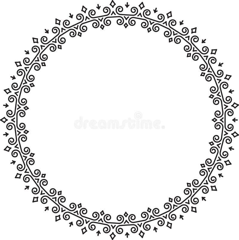 Marco floral rico de la ronda adornada, de lujo Plantilla para su diseño, tarjeta, invitación, etiqueta o etc libre illustration