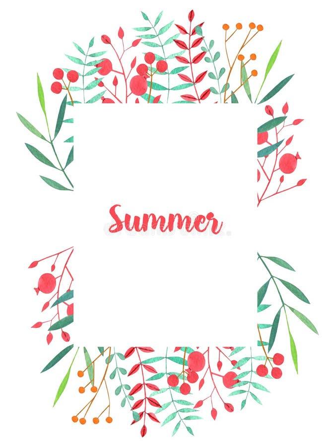 Marco floral rojo de la acuarela y verde simple de las ramas y de las bayas stock de ilustración