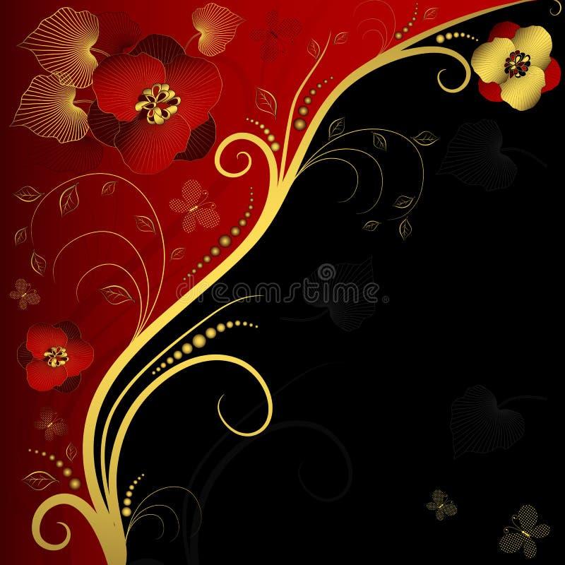 Marco floral rojo, negro y de oro libre illustration