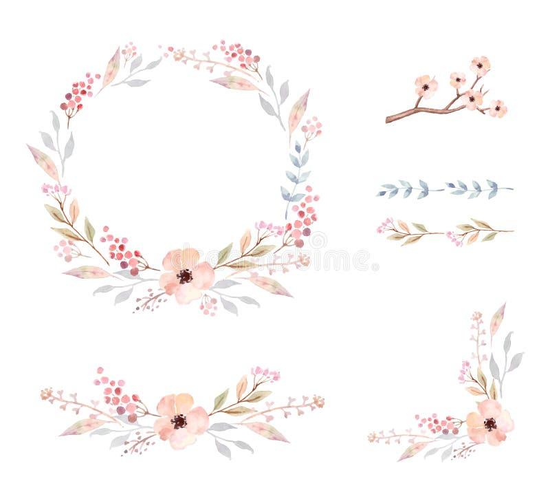 Marco floral Sistema de flores lindas de la acuarela stock de ilustración