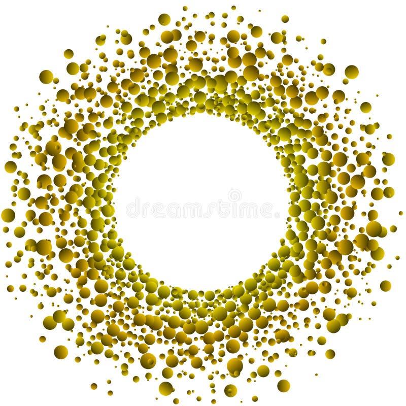 Marco flotante de oro de los descensos stock de ilustración