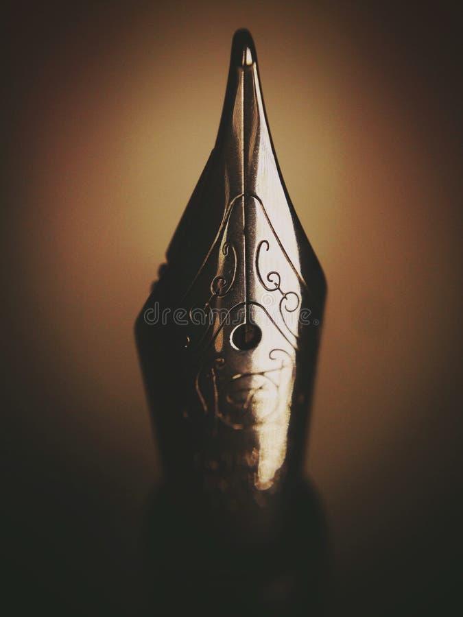 Fountain pen nib. Marco of a fountain pen nib stock images