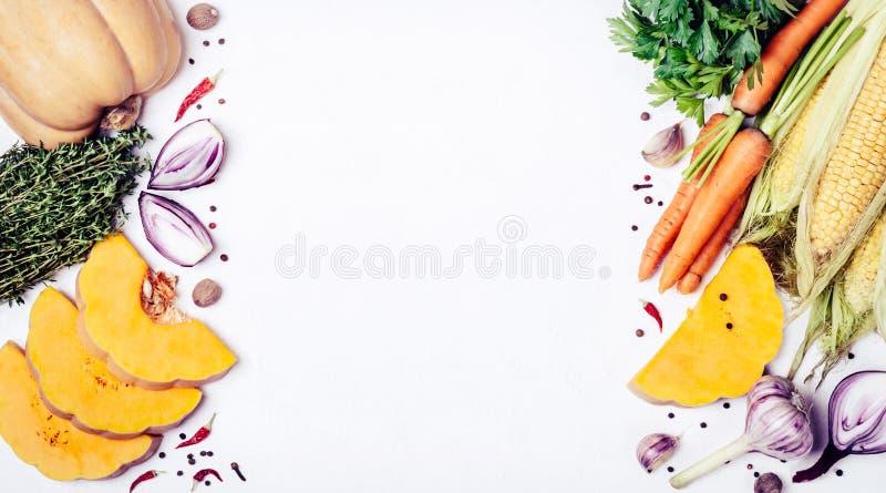 Marco fresco de las verduras, de las especias y de las hierbas del otoño Lugar para el texto o la receta Comida sana o vegetarian imagen de archivo