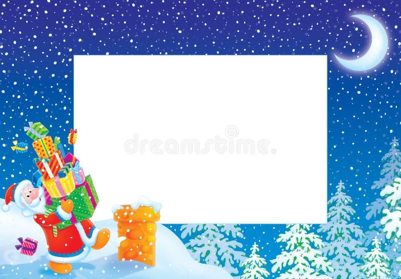 Marco/frontera de la foto de la Navidad con Papá Noel ilustración del vector