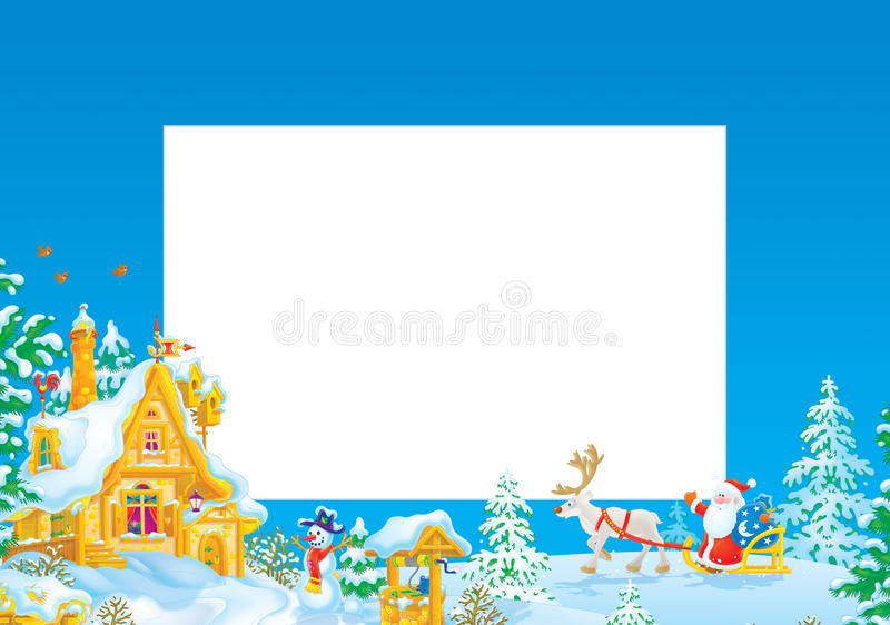 Marco/frontera de la Navidad con Papá Noel stock de ilustración