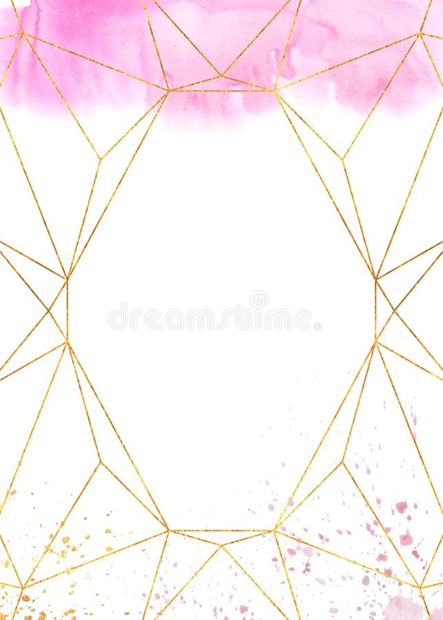 Marco geométrico del extracto del rosa de la acuarela imagen de archivo libre de regalías