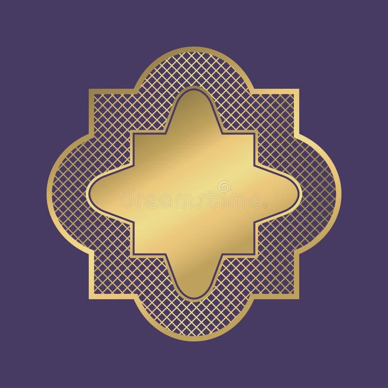 Marco geométrico del oro Bandera en blanco ornamental abstracta en estilo árabe en el fondo violeta Vector ilustración del vector