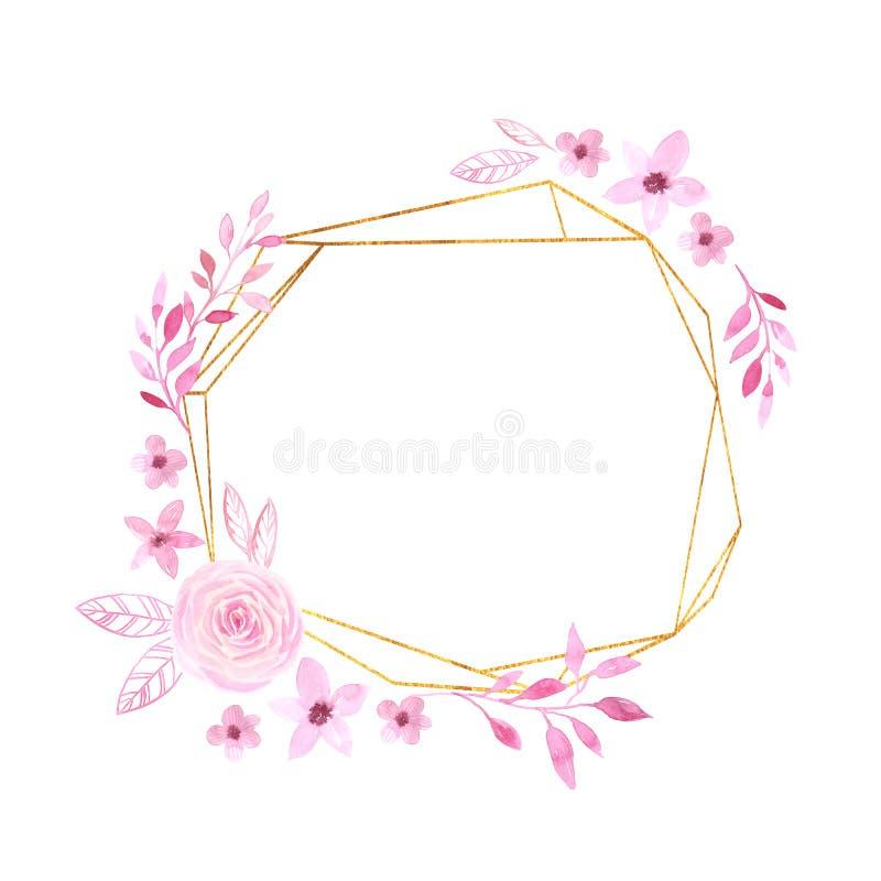 Marco geométrico floral de la acuarela con las flores delicadas stock de ilustración