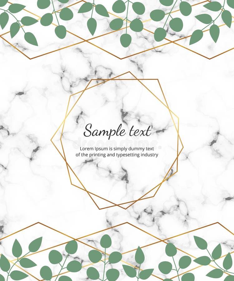 Marco geométrico poligonal, líneas de oro con el eucalipto de las hojas en la textura de mármol Plantilla botánica del diseño par stock de ilustración