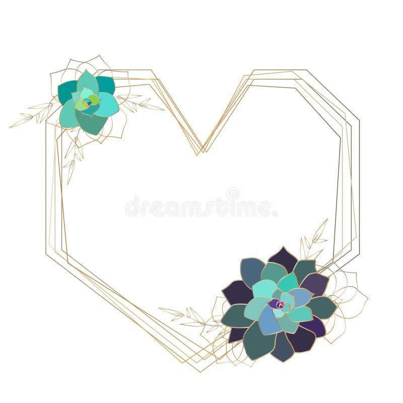 Marco geométrico suculento del vector, plantilla, corazón Elementos coloreados del oro ilustración del vector