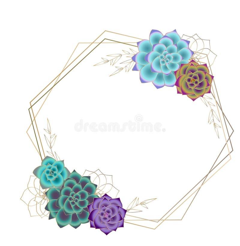 Marco geométrico suculento del vector, plantilla, fondo transparente ilustración del vector