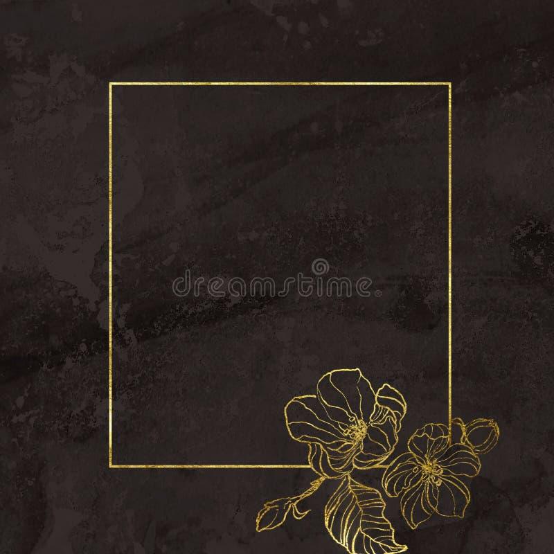 Marco geomertic de oro con las flores pintadas a mano blandas de la cereza en fondo texturizado marrón Frontera floral en estilo ilustración del vector