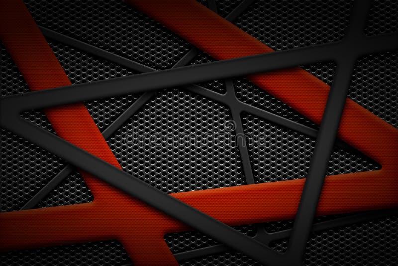 Marco gris y anaranjado de la fibra de carbono en fondo negro de la parrilla ilustración del vector
