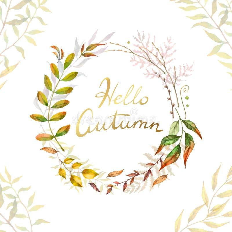 Marco herbario del vector de la mezcla Plantas, ramas y hojas pintadas a mano en el fondo blanco Diseño de tarjeta natural de la  ilustración del vector