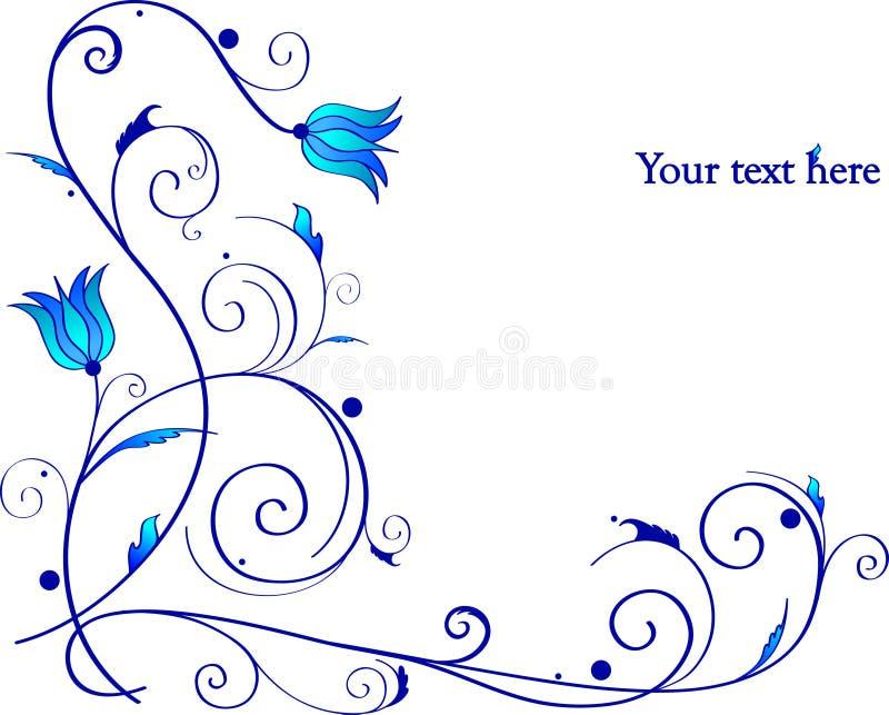 Marco Hermoso Con Las Flores Azules Ilustración del Vector ...