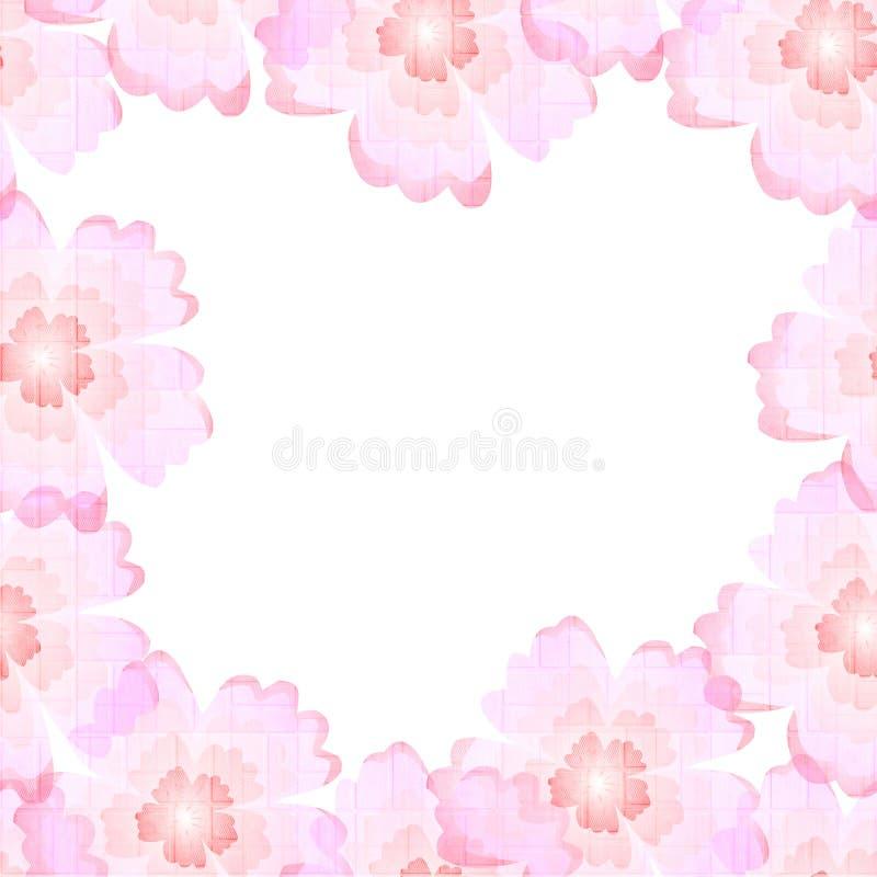 Marco Hermoso Con Las Flores Rosadas Plantilla Para Las Tarjetas De ...