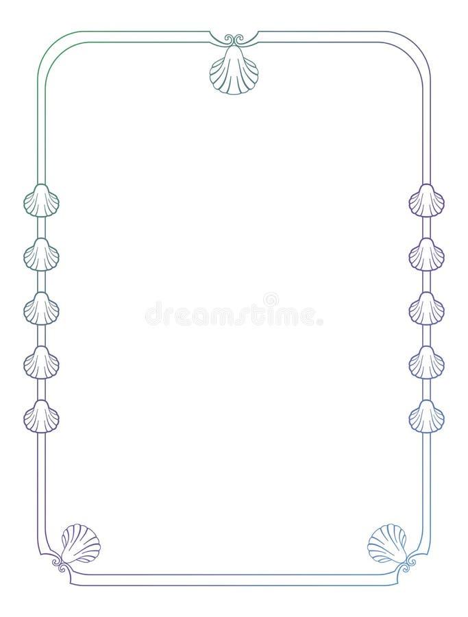 Marco hermoso con las siluetas de las conchas marinas ilustración del vector