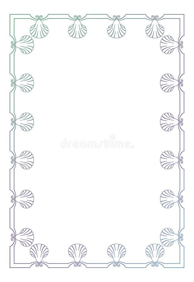 Marco hermoso con las siluetas de las conchas marinas stock de ilustración