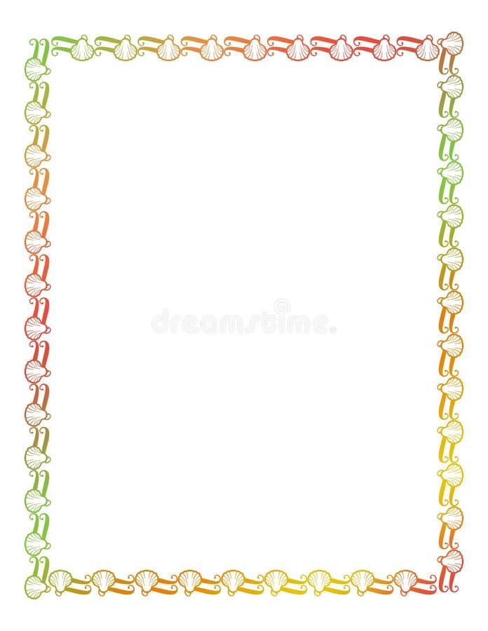 Marco hermoso con las siluetas de las conchas marinas libre illustration